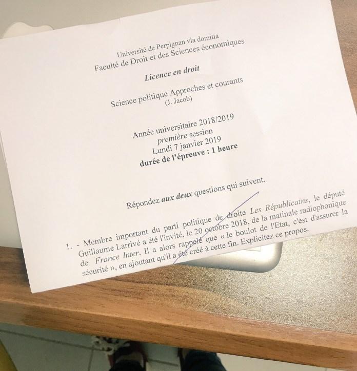 Lundi 07 janvier 2019, 16h00, en amphithéâtre 4, les juristes de la licence droit de l'Université Perpignan Via Domitia ont eu pour examen de science politique le commentaire d'un propos de Guillaume Larrivé, Secrétaire Général Les Républicains.