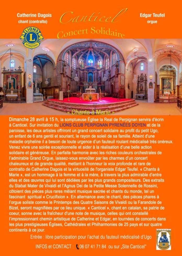Concert solidaire « Un Fauteuil pour Ugo» en l'Église la Real de Perpignan avec Canticel