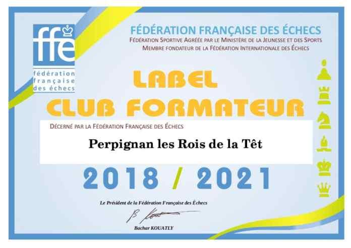 Le Label Fédéral Club Formateur alloué à Perpignan les Rois de la Têt