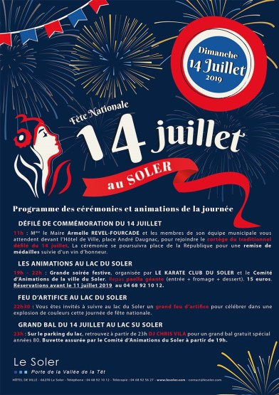 Le programme des célébrations et festivités du dimanche 14 juillet 2019 au Soler