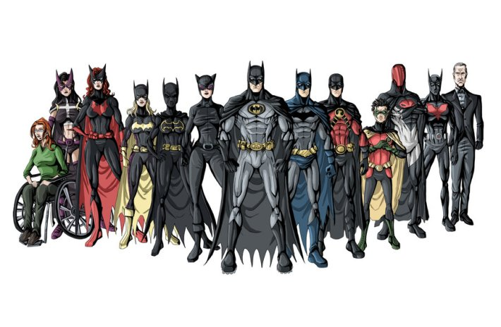 De gauche à droite : Oracle (Barbara Gordon), Huntress (Helena Bertinelli), Batwoman (Kate Kane), Batgirl III (Stephanie Brown), Batgirl II (Cassandra Cain), Catwoman (Selina Kyle), Batman (Bruce Wayne), Batman II (Dick Grayson), Red Robin (Tim Drake), Robin IV (Damian Wayne), Red Hood (Jason Todd), Batman Beyond (Terry McGinnis) et Alfred Pennyworth.