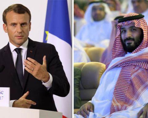 """Résultat de recherche d'images pour """"Emmanuel Macron est arrivé à Riyad"""""""