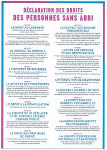 Déclaration des droits des personnes sans abris