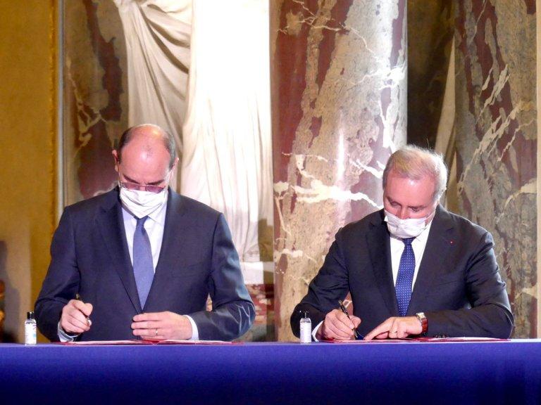 """En octobre, Jean Castex et Jean-Luc Moudenc, le maire de Toulouse, avaient signé le premier """"contrat de sécurité intégrée"""". Crédit : Guillaume Pannetier"""