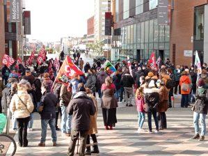 Entre 1300 et 2000 manifestants ce matin dans les rues de Toulouse. Crédit : Axel Mahrouga