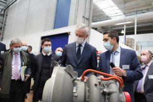 """Le ministre de l'économie, Bruno Le Maire a réitéré son soutien """"total"""" et celui du gouvernement à la filière aéronautique. Crédit : Guillaume Pannetier"""