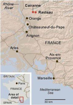 2011 CAIRANNE, Côtes du Rhône Villages, Domaine Romain Roche 2011 - Rhône France- Cairanne Map