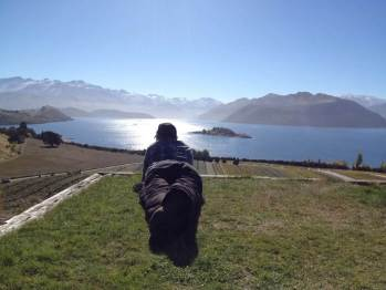 Rippon's Nick Mills surveys his vines running down to the impossibly beautiful Lake Wanaka