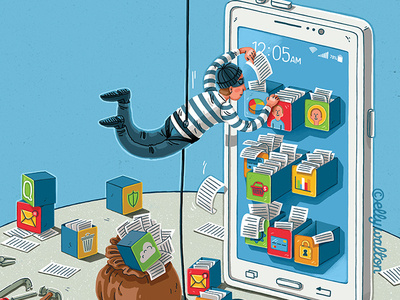Person dressed as burglar dangles down on a rope taking documents out of a giant smart phone.