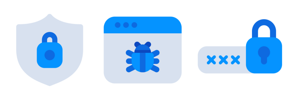 3 graphics: 1 - a grey shield with a blue padlock inside, 2 - a computer window with a blue bug, 3 - a hidden password comprising of 3 blue crosses next to a blue padlock.
