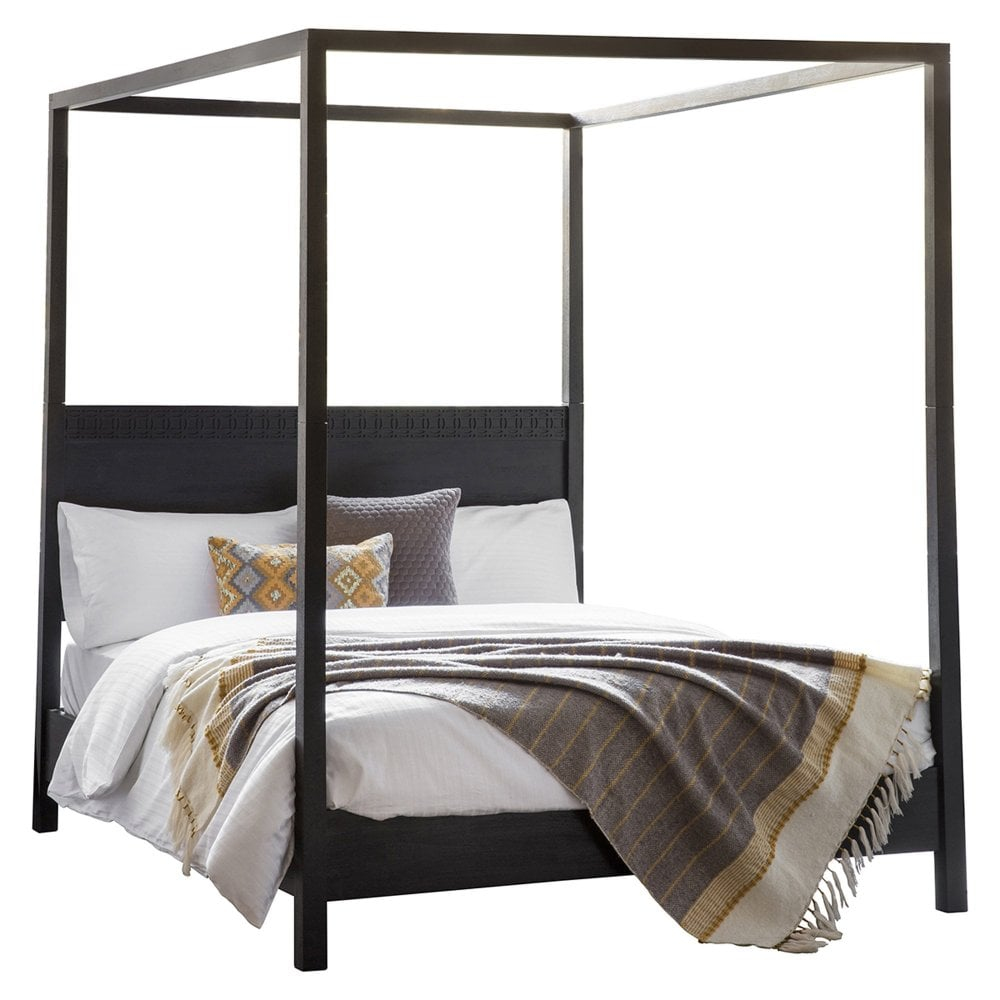 Gallery Direct Boho Boutique Super Kingsize Four Poster Bed Black Leader Furniture