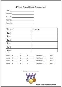 Tournament Template 4 four Team Round Robin Tournament Competition Sports 4 four team Competition