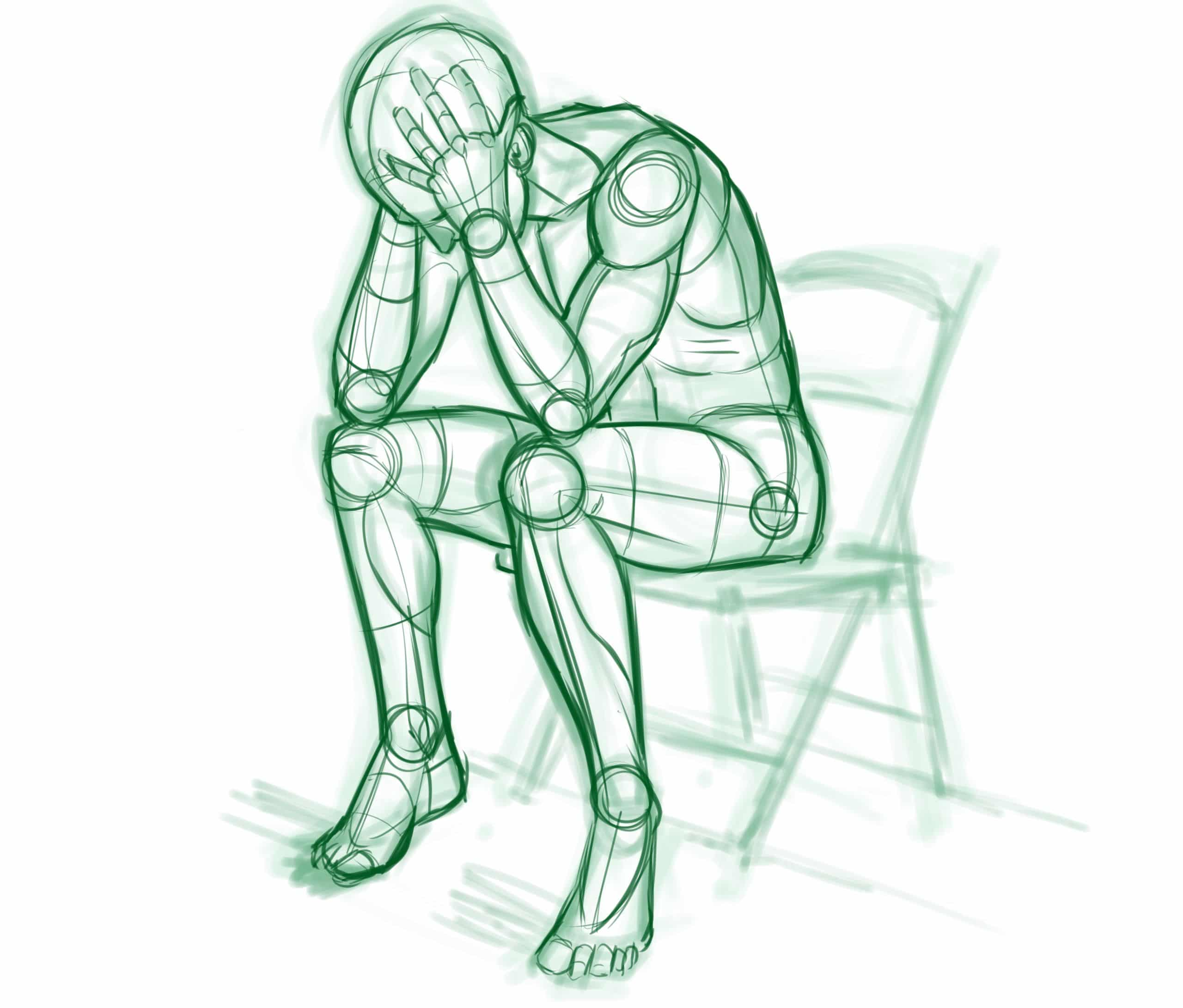 illustration of man sitting on chair holding his head in a crisis