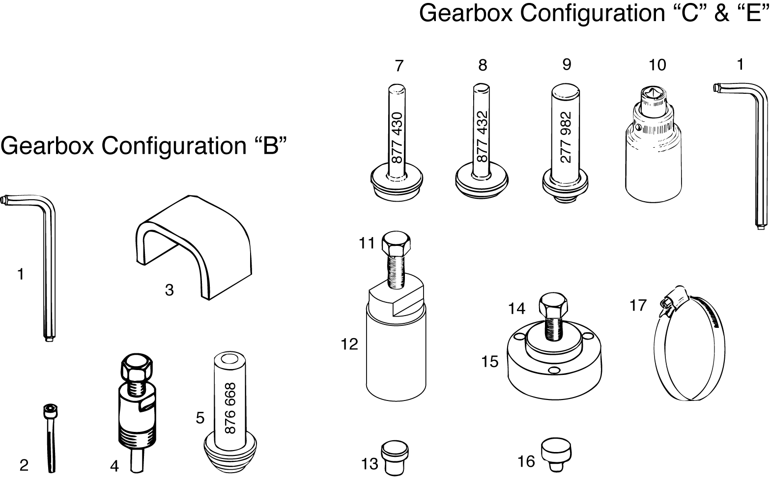 Repair Tools And Gasket Set For Gearbox Config B C E