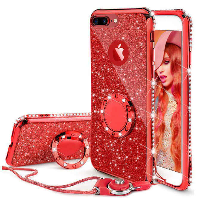 2 in 1 Bling Dust-proof Mobile Phone Case Non-slip Protective Cover Shell for iPhone X Case