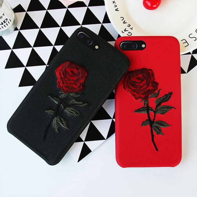 Soft Silicone TPU Phone Case Embroidery Roses Mobile Phone Cover for iPhone 7 8 Case