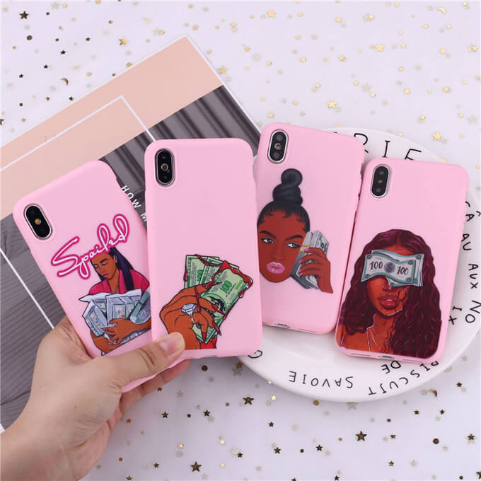 Leadingplus Fashion Soft TPU Mobile Back Cover Black Girl Phone Case for iPhone X 11 Pro