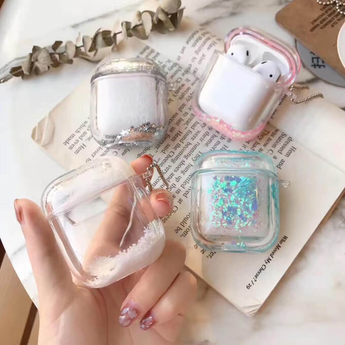 Glitter Shiny Liquid Quicksand Hard PC Wireless Earphone Cover for Apple Airpods