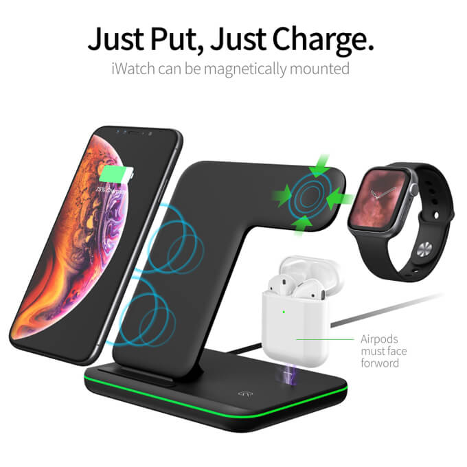 2020 Phone Charger 3 in 1 Wireless Desktop Charger Station for Earphones Smartwatch