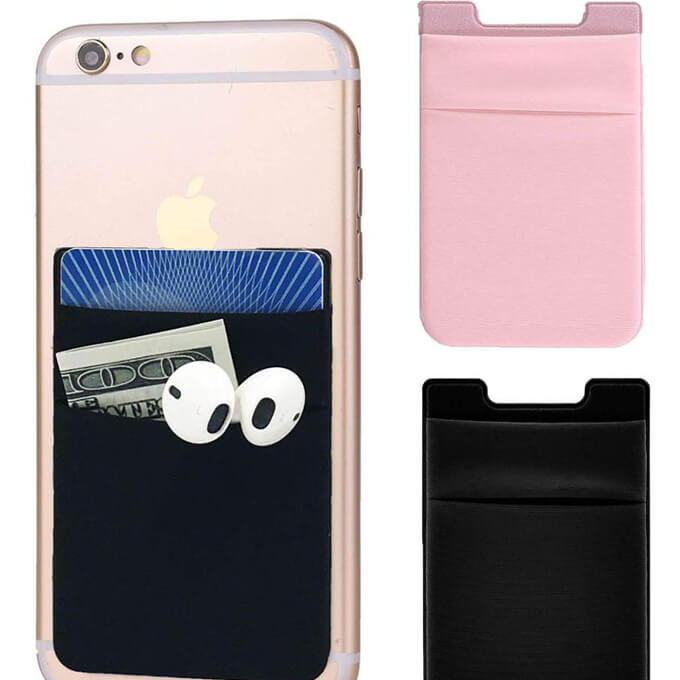 Mobile Phone Pocket Elastic Wallet Sticker Credit Cards ID Card Holder Pouch