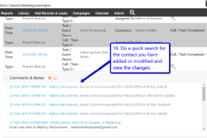Desktop view of LeadMaster's CRM in Gmail with arrow pointing to comments & notes