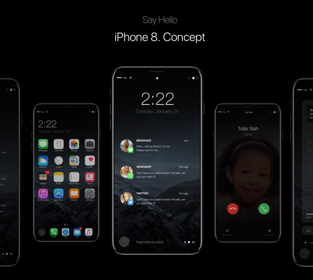 An iPhone 8 concept showing an edge-to-edge display