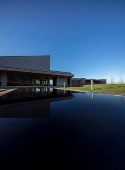 Lea Fields Crematorium - rear view including reflective pool