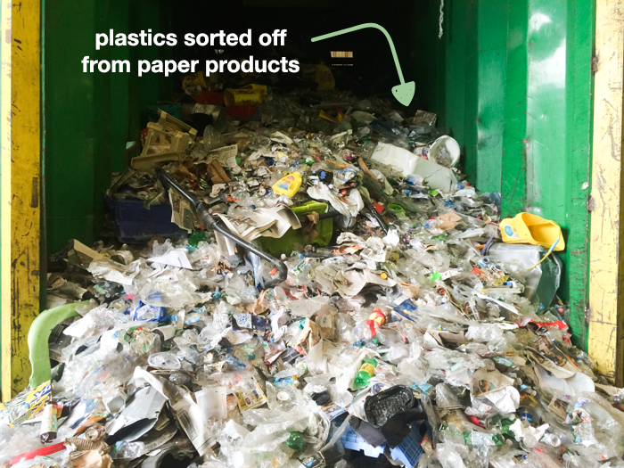 Plastic products piled