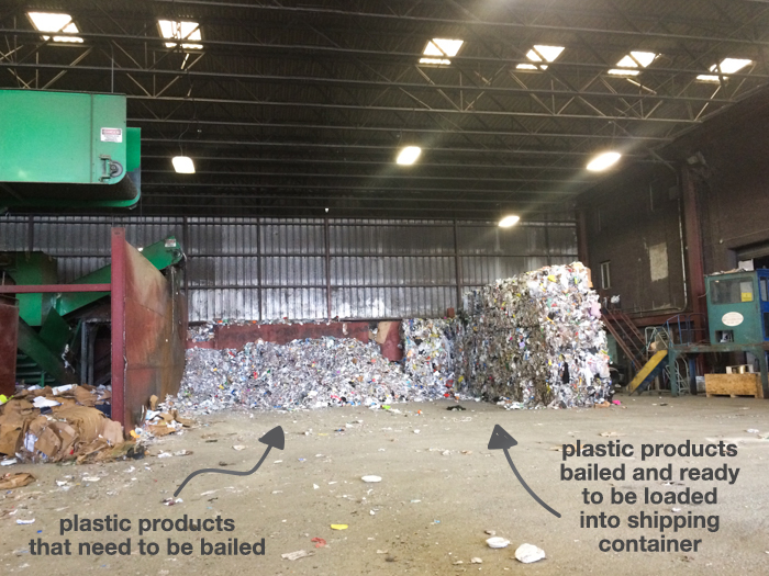 Plastic products waiting to be bailed and stacked bails