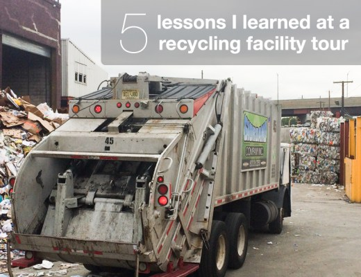 Garbage truck leaving recycling facility