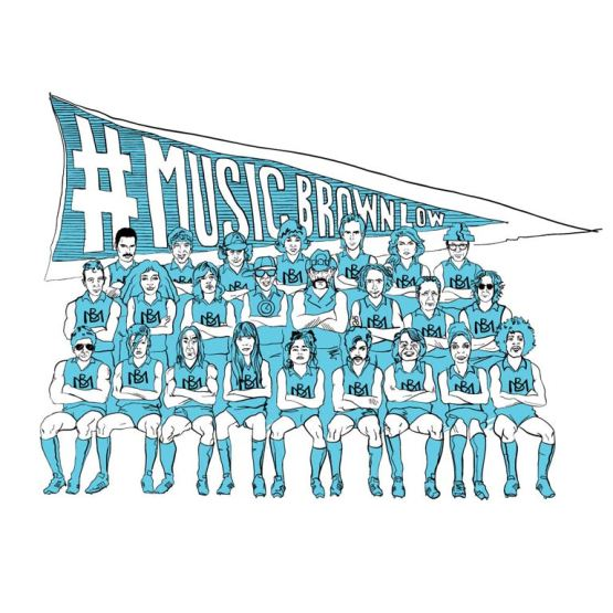 retro footy t shirt of the music brownlow all stars team