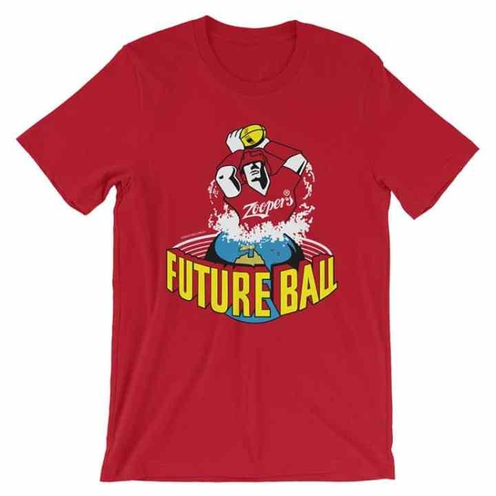 future ball retro footy tshirt red