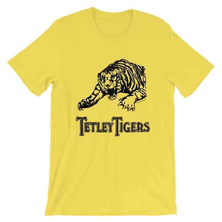 tetley tigers fanfooty vintage t-shirts yellow