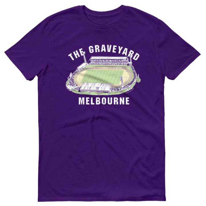 the graveyard melbourne rugby league vintage tshirt purple