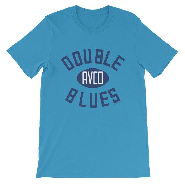double blues retro footy t-shirt blue