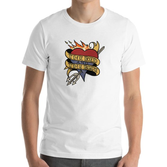 footy tattoo t-shirt red and the blue