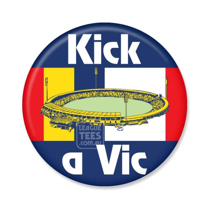 kick a vic vintage football badge