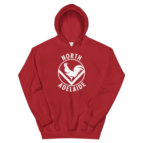 north adelaide retro hoodie red