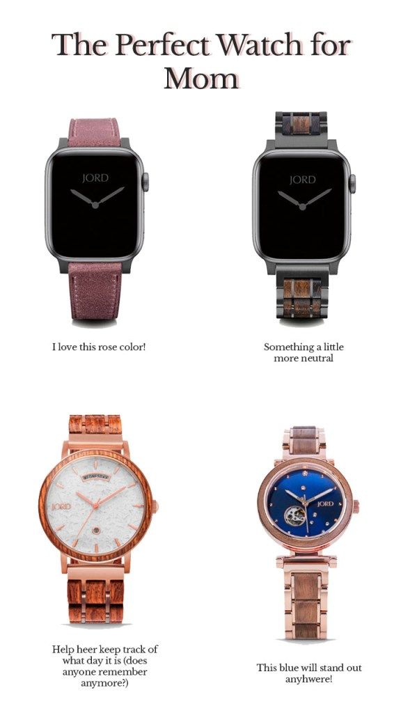 Collage of 4 watches and apple watch bands. Gift ideas for mother's day 2020. From JORD watches