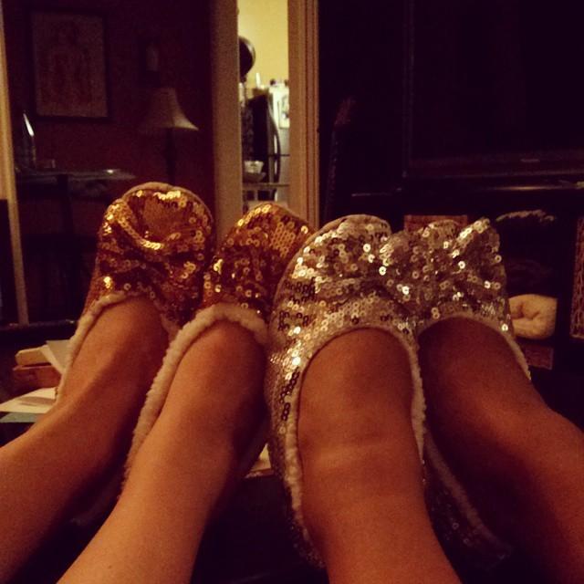 Matching grandma slippers... with sass.