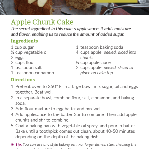 Apple Chunk Cake Recipe Card