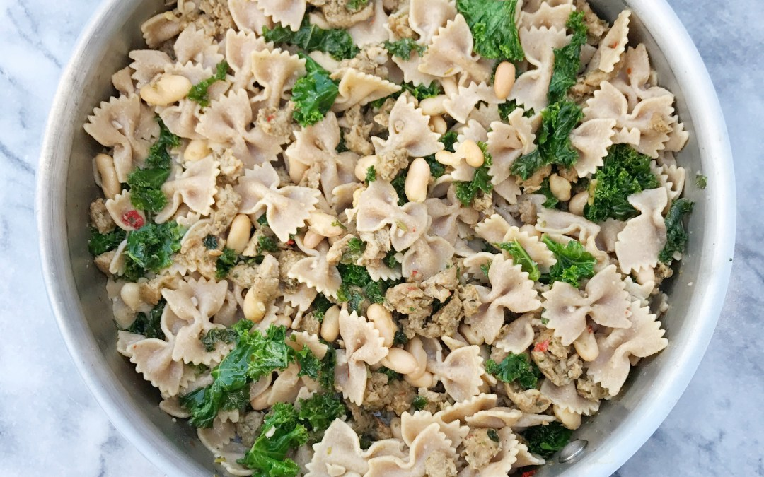 Whole Wheat Pasta with Chicken Sausage, Kale & White Beans