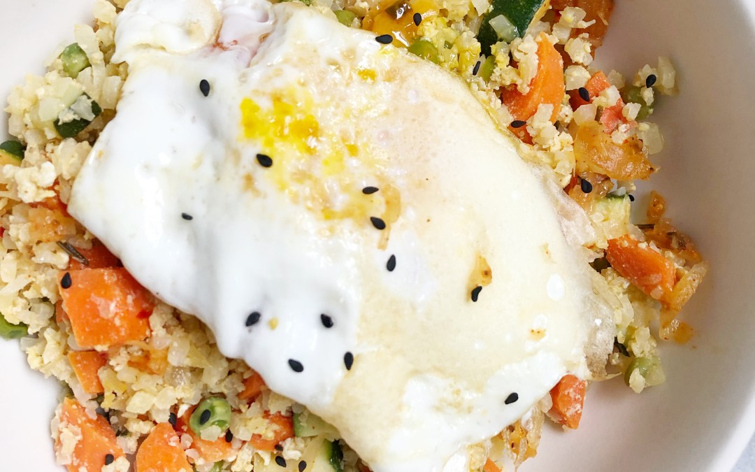 Paleo Sriracha Ginger Cauliflower Kraut Fried Rice