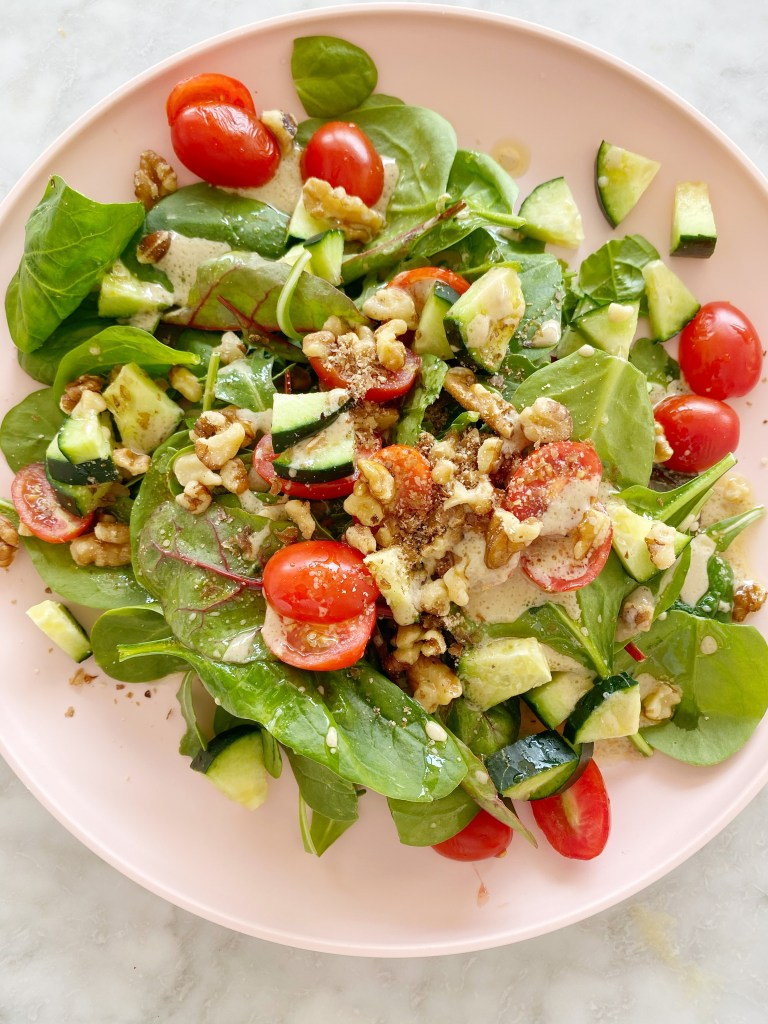 salad 768x1024 - My Favorite Simple Salad + Homemade Dressing (Vegan)