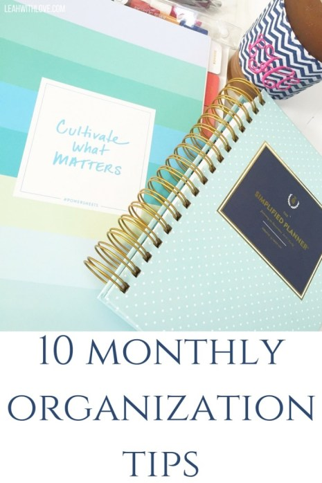 10 monthlyorganization tips