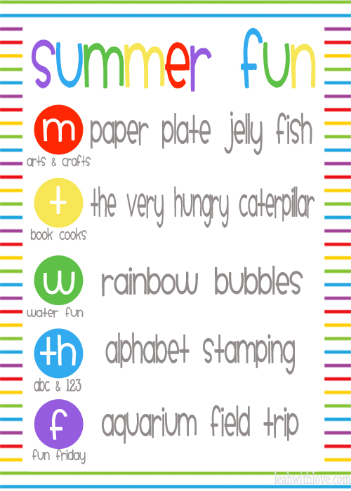 summer fun printable week 1