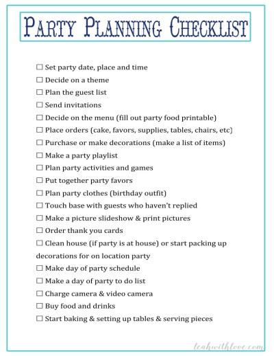party planning checklist navy