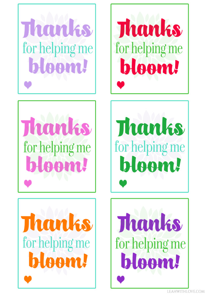 Free teacher appreciation printable leah with love bloom gift tags negle Images