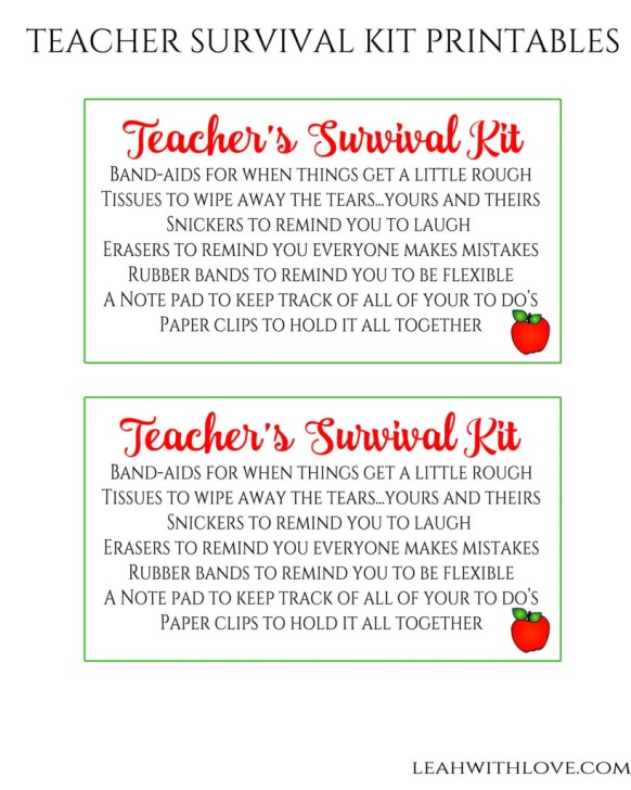 Teacher Survival Kit Printable