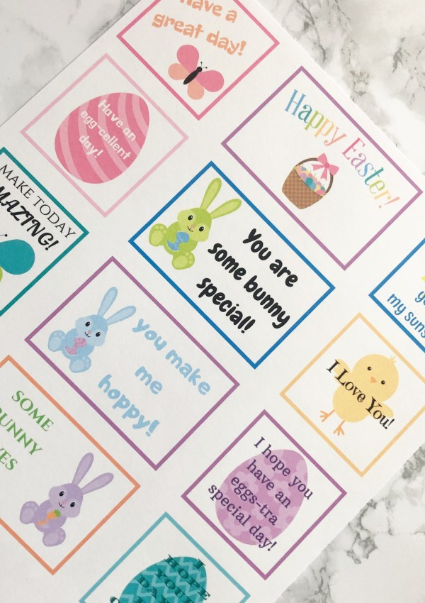 {Printable} Easter Lunch Box Notes